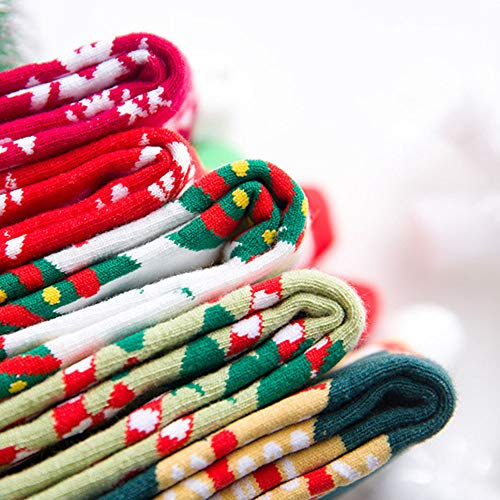 Christmas Long Socks,Women Cotton Xmas Tree Multi-Color Printed Leg Warmer Winter Warm Socks (Free Size, D) by Leewos (Image #5)