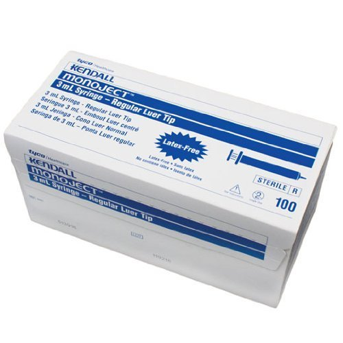 Kendall/Covidien - Monoject Sterile General Purpose 3mL Syringes Regular Tip Without Needle in Rigid Hard Pack - Box of 100