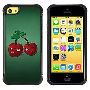 All-Round híbrido Heavy Duty de goma duro caso cubierta protectora Accesorio Generación-II BY RAYDREAMMM - Apple iPhone 5C - Angry Grumpy Cherries Red Berries Healthy Food