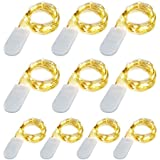 [10-PACK] LED String Lights, 3.5FT LED Moon Lights 20 Led Micro Lights On Silver Copper Wire (Batteries Include) For DIY Wedding Centerpiece, Table Decoration, Party (warm white)