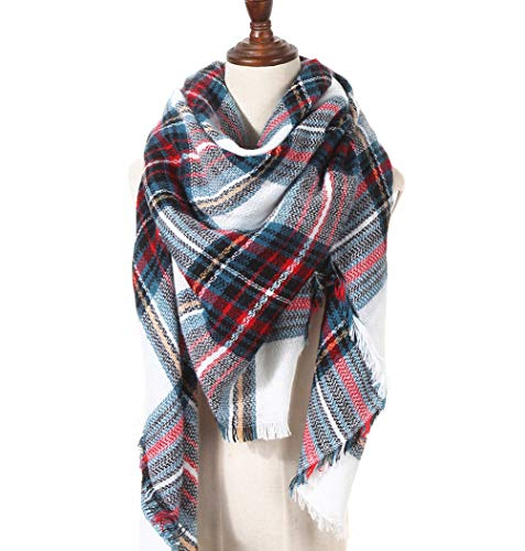 (Large Soft Plaid Scarf Women Winter Knit Blanket Scarf Cashmere Feel Shawl and Wraps (35))