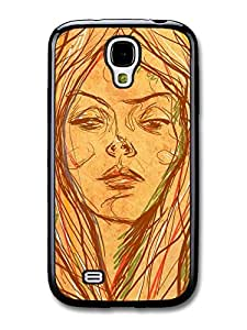 Wholesale diy case Accessories Girl Brown Drawing Original Art Illustration case for Samsung Galaxy S4