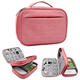 Hello Color Microfiber PU Electronic Organizer,Double Layer Travel Gadget Storage Bag for Cables, Cord, USB Flash Drive, Power Bank and More-a Sleeve Pouch for IPad and Kindle Mini (Pink)