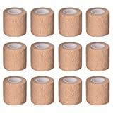 Mudder 12 Pack 2 Inch x 5 Yards Wrap Tape Sports Tape Self-Adherent Tape Pressure Wrap Bandage Rolls for Wrist Ankle (Skin Color)