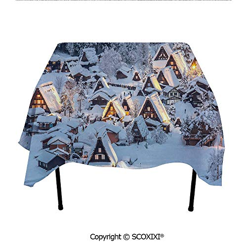 SCOXIXI Pub Tablecloth Washable Polyester Fabric,Asian Shirakawago Historical Village Under The Snow Gifu Chubu Region Japan Image Decorative,W55XL55 Inches ()