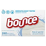 Bounce Fabric Softener Sheets, Free & Gentle, 240 Count - Pack of 3