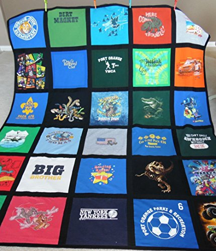 T-Shirt Quilt with fabric to create a frame. Offered in a variety of sizes and colors! by Aprons N Quilts