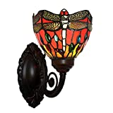 Bieye Tiffany Style Stained Glass Dragonfly Wall Sconce Lamp Fixture with 6 inches Handmade Lamp Shade (Red Single Uplight)