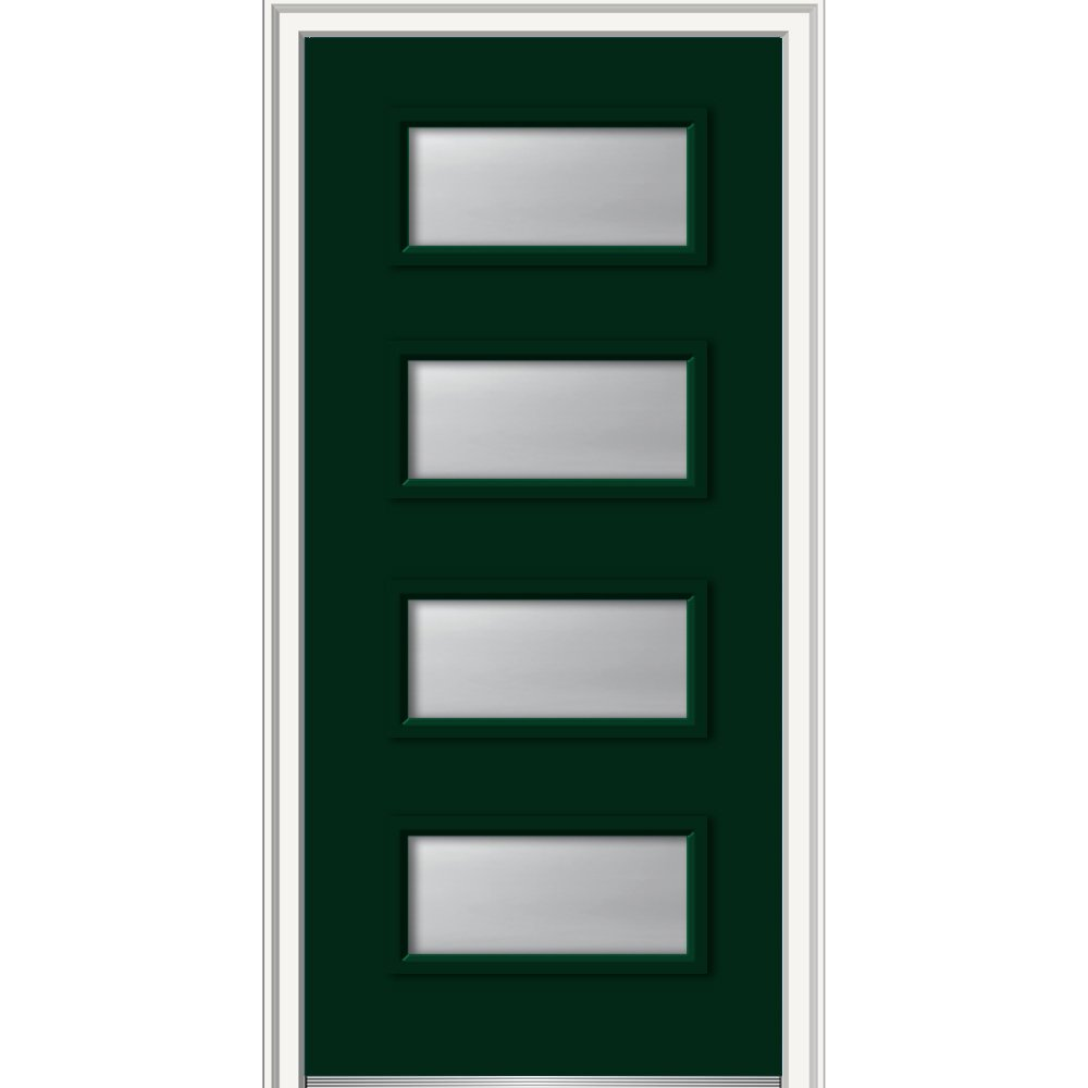 National Door Z0349678R In-Swing Exterior Prehung Door, Frosted Glass, Right Handed, 4-Lite, Smooth, Fiberglass, 36'', 80'' Height, Hunter Green