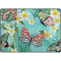 Vantaso Area Rugs Tropical Exotic White Flowers And Butterfly Non Slip Play Mats for Kids Bedroom Boys Girls Playing Room Living Room 80x58 inch