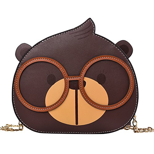 SAIKA Pu Faux Leather Girl's Cute Bear Face shoulder bag purse Messenger Crossbody Bag Chain Strap Bag for Kids, Teens, Toddlers Collection.