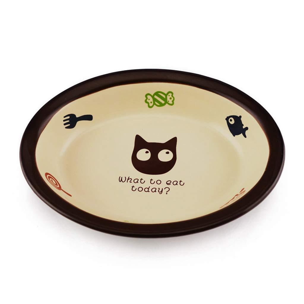 HVTKL Pet Practical Oval Ceramic Non-Slip Food Bowl Cartoon Cat Bowl Durable Pet Supplies