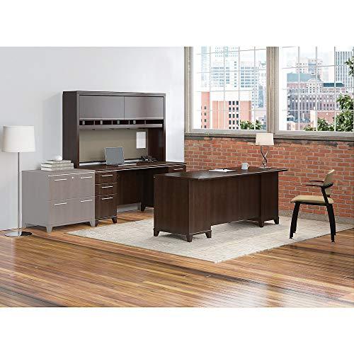 Bush Business Furniture Enterprise 72 Double Pedestal Desk with 72W x 30D Double Pedestal Desk and Hutch in Mocha - Desk Enterprise Double Pedestal