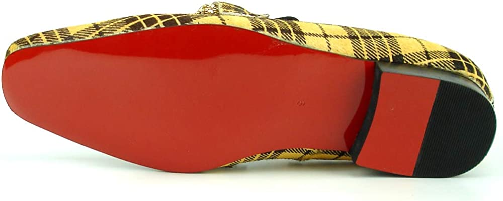 Fiesso by Aurelio Garcia FI-7291 Black Yellow Pony Hair with Gold Metal Chain Slip on Loafer European Shoe Designs