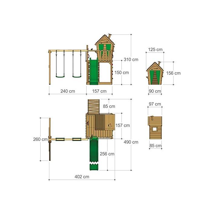 XXL Parques infantiles diseño colorido incl. conjunto de accesorios completo - Con doble swing y playhouse Viga de columpio de 9x9cm, postes verticales de 7x7cm - Calidad y seguridad aprobada - Made in Germany Madera maciza impregnada a presión - 10 años de garantía* para todos los elementos de madera