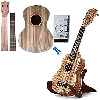 Zimo® Make Your Own Four Strings 23 Zebrano Concert Ukulele DIY Hawaii Ukulele Kit