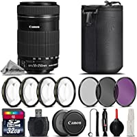 Canon EF-S 55-250mm f/4-5.6 IS STM Lens + 32GB Class 10 High Speed Memory Card + 4PC Macro Kit + UV-CPL-FLD Filters + Card Reader + Lens Cap Holder + Cleaning Brush - International Version