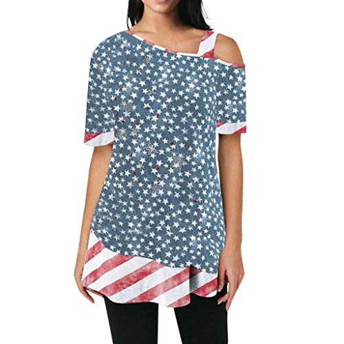 Summer Clothes for Women Respctful✿ Cold Shoulder Spaghetti Strap Short Sleeve Stars and Stripe Print Blouse T Shirts -