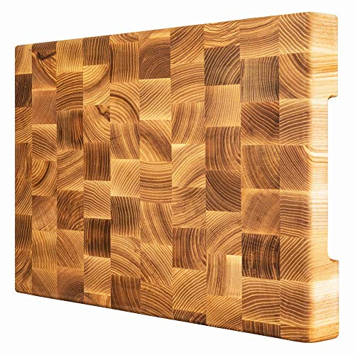 Woodberg Butcher block - End grain cutting board 16x12x1 3/5 in - Wood cutting board - Chopping board for cutting and serving - Good thick cutting board for your kitchen