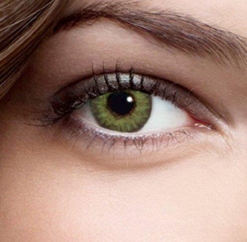 Farbige Kontaktlinsen Monatslinsen Edelstein Grün Dreifarbig weiche Funlinsen ohne Stärke + 1 Kontaktlinsenbehälter