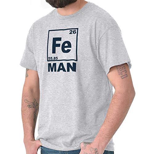 bcd0db8fb1c530 Fe Iron Science Elements Funny Nerdy Geeky T Shirt Tee Ash Grey