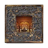Indian Heritage Wooden Photo Frame 4x4 Mango Wood Carving Design with Grey Distress Finish