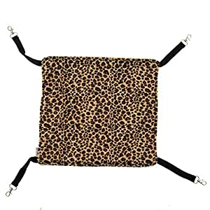 Pecute Pet Animal Cat Kitty Hanging Ferret Hammock Leopard Design Bed Bunk Sleepy Pad Size S