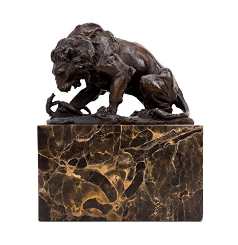 Kunst & Ambiente Bronze Sculpture - Lion and Serpent (1838) - Signed Barye - Animal Figurine for Sale - Lion Statue (Lion Sale Sculpture For)
