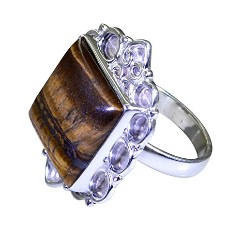 Natural Tiger Eye Ring Handmade 925 Sterling Silver Cushion Shape Pave Style Size (Cushion Cut Tigers Eye Ring)