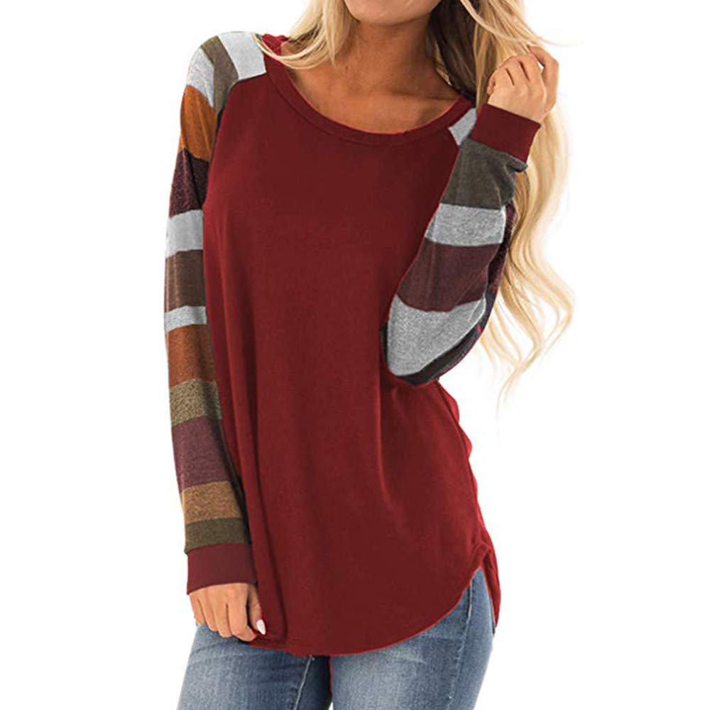 HKDGID Women Colorful Stripes Shirt Long Sleeve Rainbow Print Ladies Stylish Casual Top T Shirt Blouse (Brown, Medium)