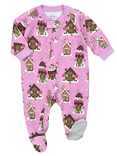 Sara's Prints Baby Girls' Soft Footed Pajamas, Gingerbread Houses-Gin, (Gingerbread Print)