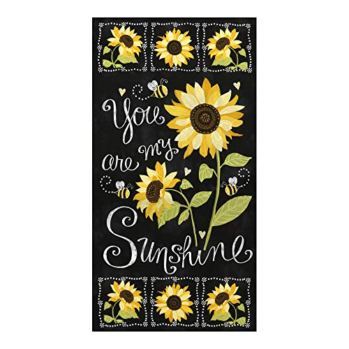 Timeless Treasures You are My Sunshine Sunflower Chalkboard 23.5in Panel Black Fabric