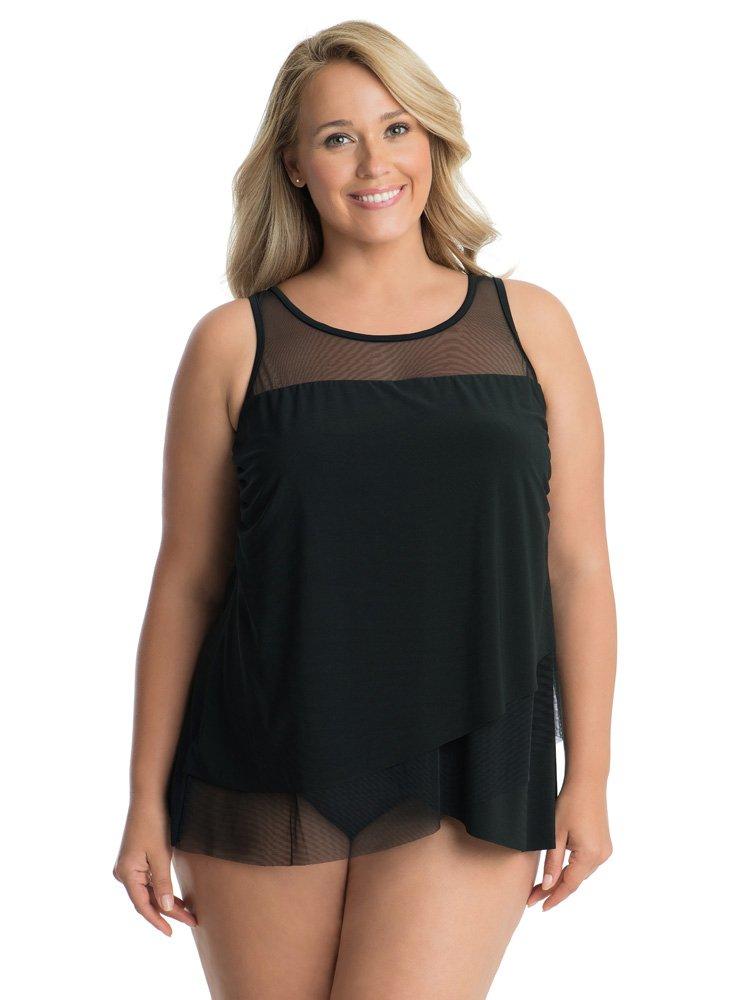 Miraclesuit Women's Plus Size Swimwear Sold Mirage High Neckline Tankini Bathing Suit Top, Black, 20W