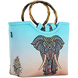 QOGiR - Large Insulated Elephant Neoprene Lunch Tote With Inside Pocket