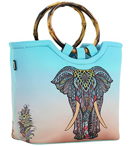 Lunch Bag Tote Bag by QOGiR - Large Reusable Insulated Neoprene lunch Bag with Inside Pocket - Perfect for Women Girls (Elephant)