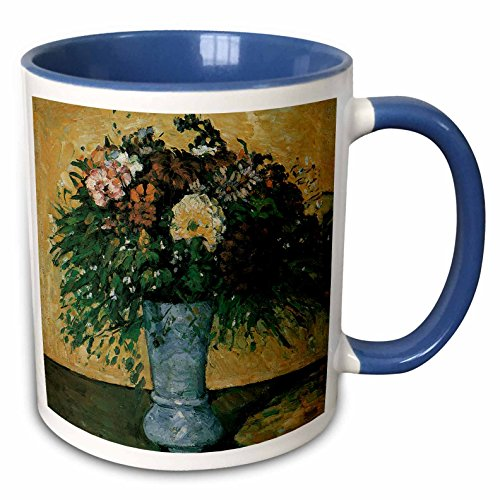 3dRose BLN Flower Paintings Fine Art Collection - Flowers in a Blue Vase by Paul Cezanne Impressionist Still Life - 15oz Two-Tone Blue Mug (mug_126444_11) - Paul Cezanne Vases