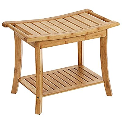 SONGMICS Bamboo Spa Bathing Bench Shower Seat Bench with Storage Shelf
