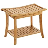 SONGMICS Bamboo Wood Spa Shower Bench Bathing Seat with Storage Shelf UBCB25Y