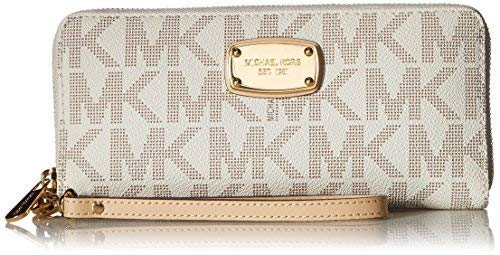 Michael Kors Jet Set Item Travel Continental Wallet Clutch Wristlet (PVC Vanilla) (Michael Kors Jet Set Monogram Signature Tote)