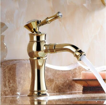 gold Short U-Enjoy Fashion Good Plating Top Quality Total Brass Material Hot and Cold Single Lever Bathroom Mixer Sink Faucet (pink gold L)