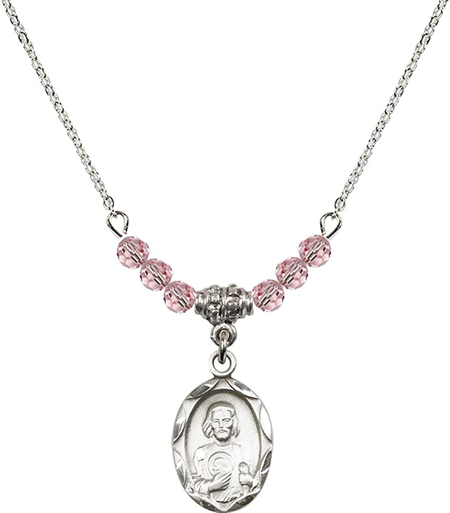 18-Inch Rhodium Plated Necklace with 4mm Light Rose Birthstone Beads and Sterling Silver Saint Jude Charm.