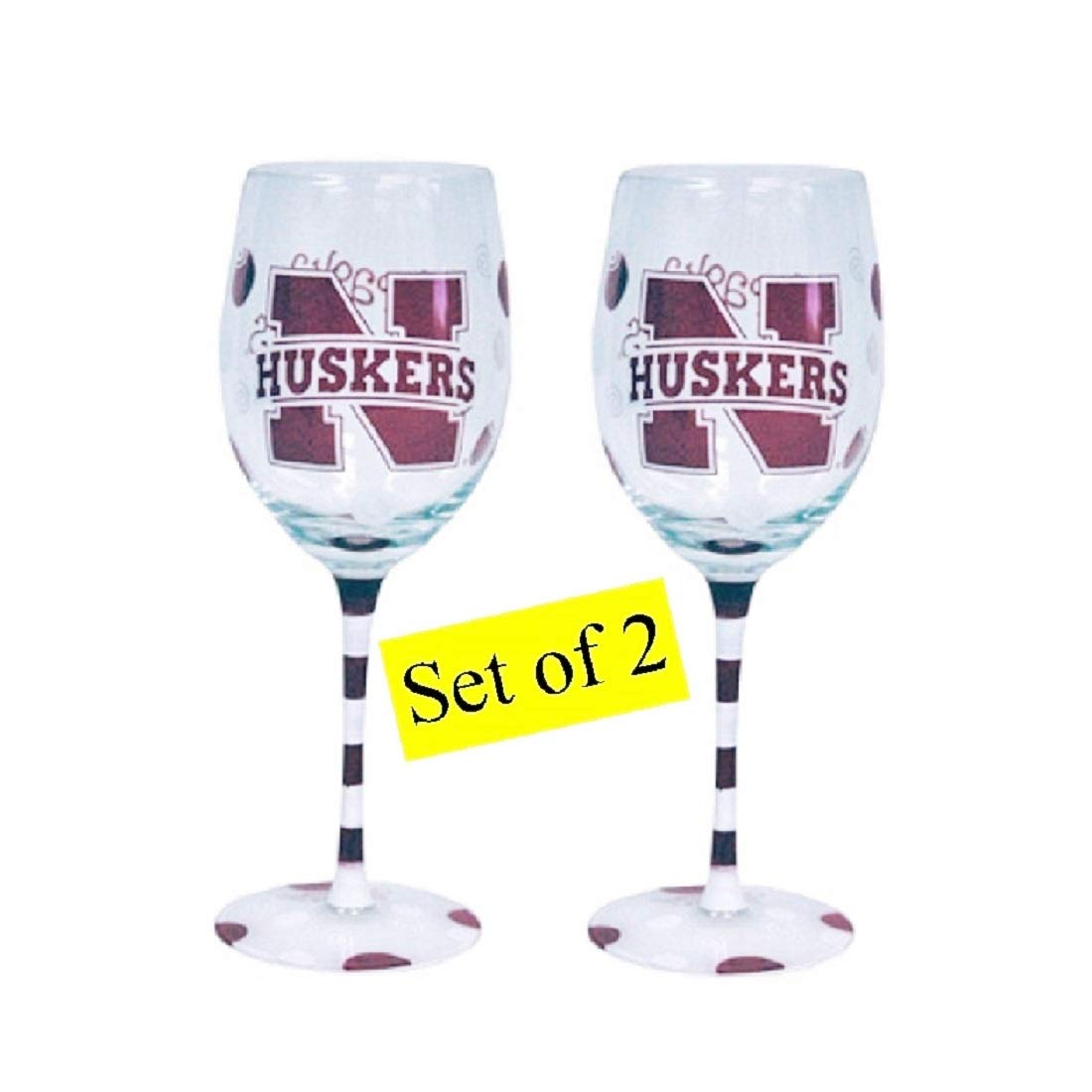 Nebraska Cornhuskers Hand Painted Wine Glasses - Set of 2 by Jenkins Enterprises