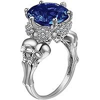 Nattypat Fashion Jewlery 925 Silver Sapphire Gem Skull Ring Wedding Engagement Size 6-10 (6)