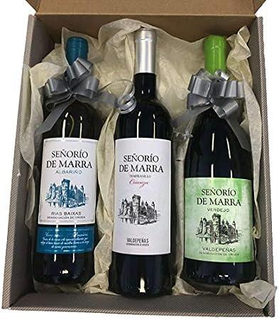 Caja de 3 botellas de Señorío de Marra Albariño, Verdejo y Tempranillo Crianza