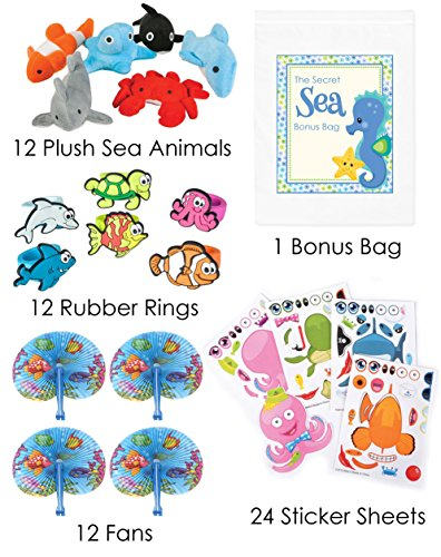 60 Piece Under the Sea Theme Birthday Party Favor Bundle Pack for 12 Guests (12 Mini Sea Life Plush, 12 Rubber Rings, 12 Fans, 24 Make a Sticker ()
