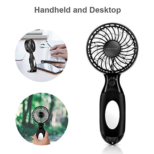 OBOSOE Handheld Fan, Portable Personal Small Desk Fan with 3600mAh USB Rechargeable Battery, Cooling for Office, Bedroom, Traveling, Camping, Outdoor Sports, Black