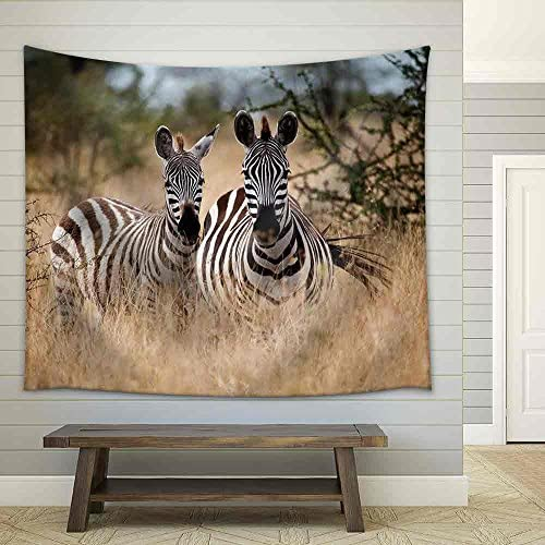 Zebras in The High Grass of The Savanna Serengeti National Park Tanzania Fabric Wall