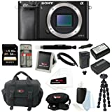 Sony Alpha a6000 ILCE-6000/B ILCE6000B 24.3 Interchangeable Lens Camera Body + Sony 64GB SDXC Card + Camera Bag + Wasabi Power Two Replacement NP-FW50 Batteries and Charger for Sony + Accessory Kit