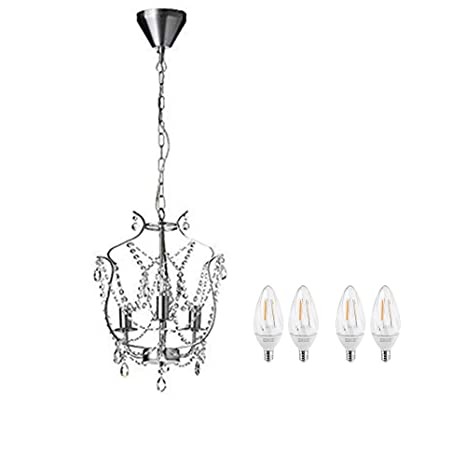Ikea Kristaller Chandelier 3 Armed Silver Color Glass With