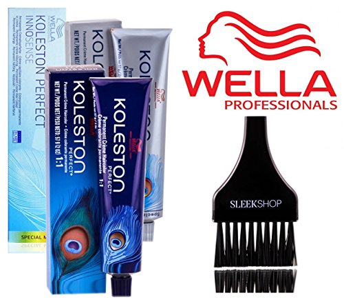 Wella KOLESTON Perfect Permanent Creme Haircolor, 2 oz (with Sleek Tint Brush) (2/0 Darkest Brown Natural)